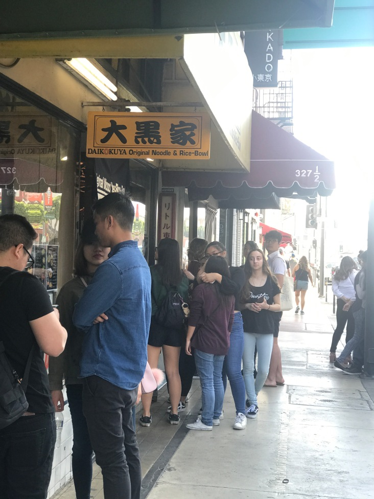 People lined up to get the best ramen around.